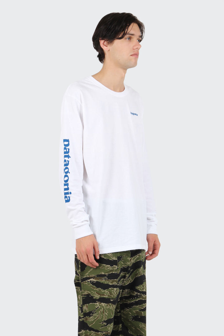 Patagonia Text Logo Responsibili-Tee Long Sleeve T-Shirt - white | GOOD AS GOLD | NZ