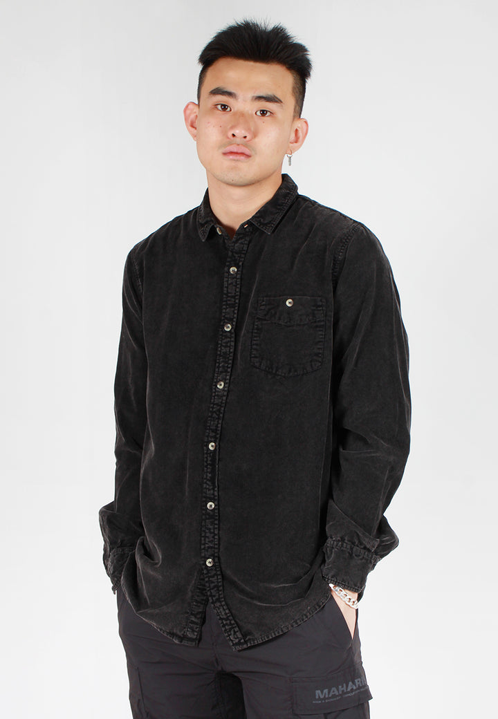 Rollas Men At Work Cord Shirt - acid black