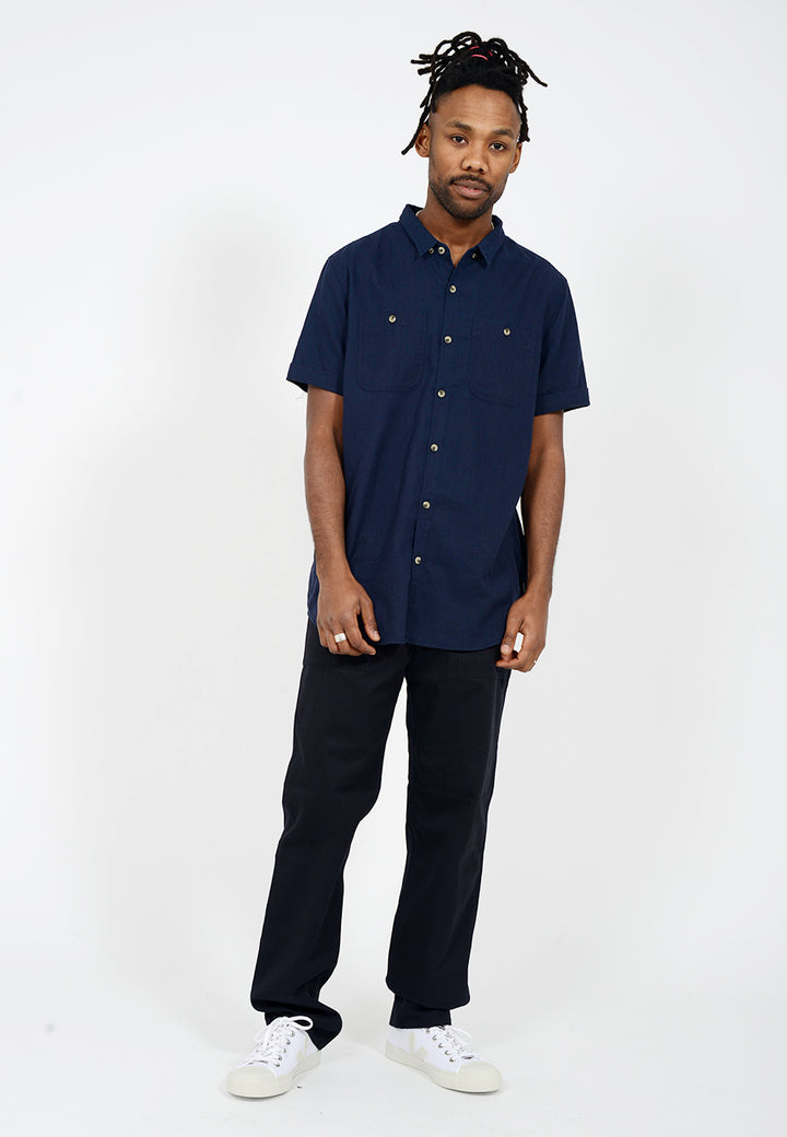 Men At Work Short Sleeve Shirt - navy linen