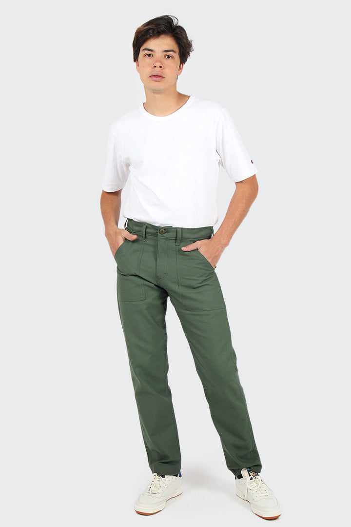 Slim Fit 4 Pocket Fatigue Pant - olive sateen | GOOD AS GOLD | NZ