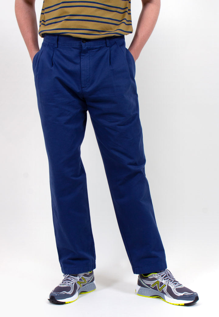 Double Pleat Chino - navy taffeta