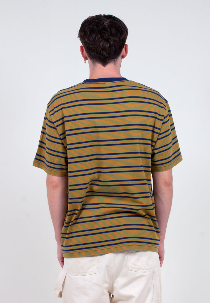 Yarn Dye Stripe Narrow T-Shirt - navy