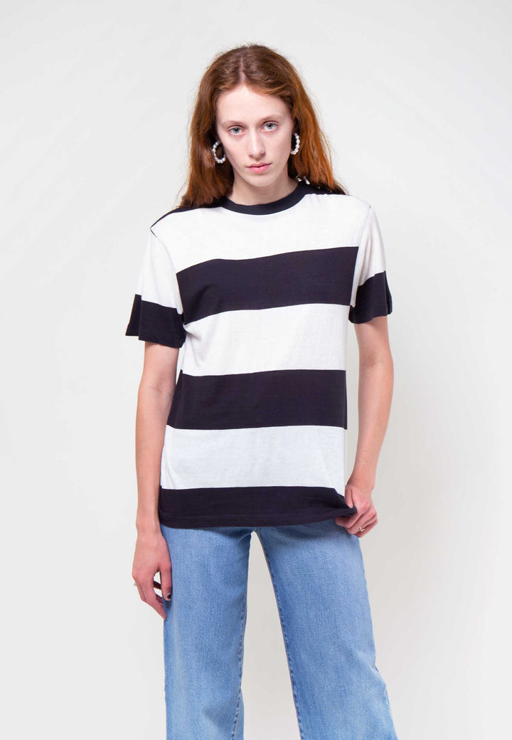 Tomboy Big Stripe T-Shirt - faded black