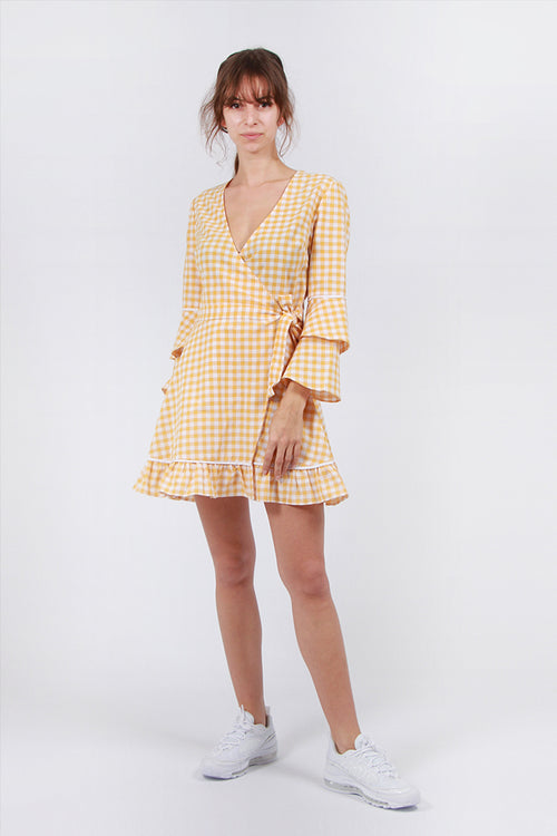 The Fifth Idyllic Wrap Dress - buttercup/white | GOOD AS GOLD | NZ