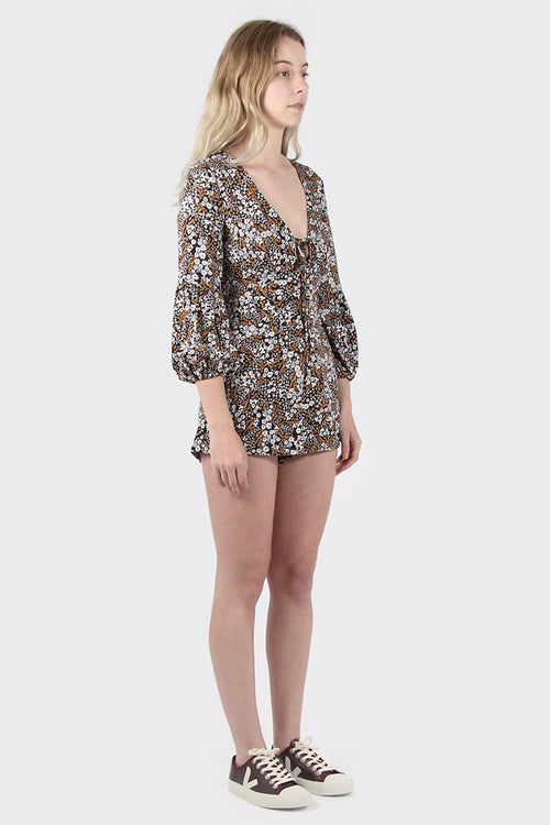 The Fifth Jeanne Playsuit - black floral muse | GOOD AS GOLD | NZ