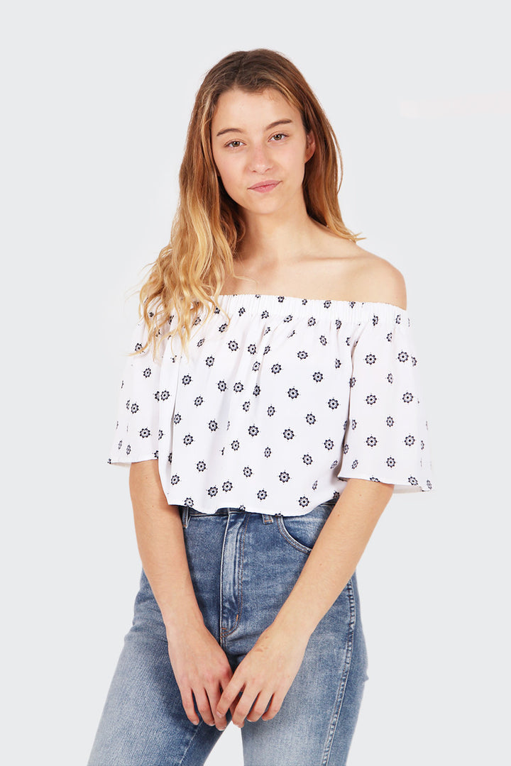 The Fifth The Seeker Top - light floral deco print | GOOD AS GOLD | NZ