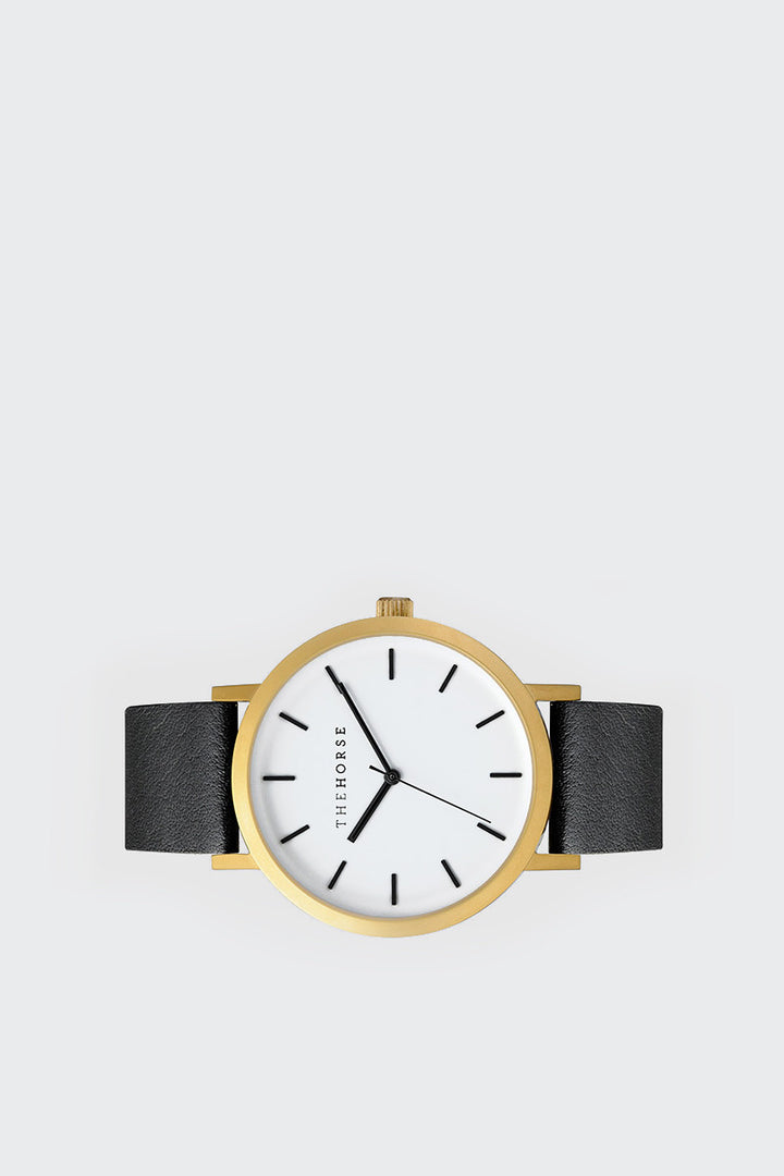 The Horse, Original Watch - brushed gold/black leather | GOOD AS GOLD | NZ