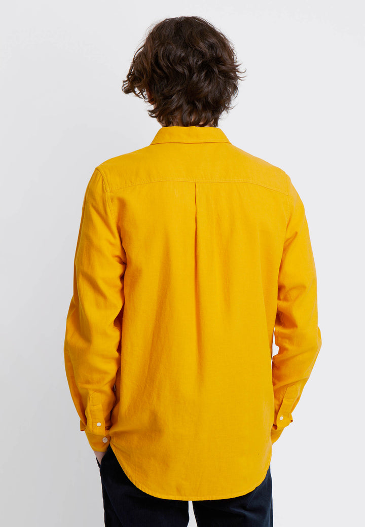 Andrew Cotton Linen Shirt - light orange