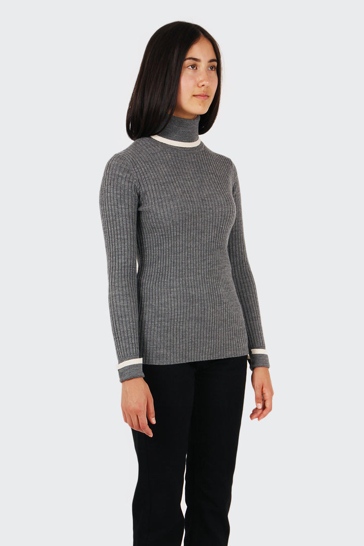 Wood Wood Irene Knit Turtleneck - grey melange | GOOD AS GOLD | NZ