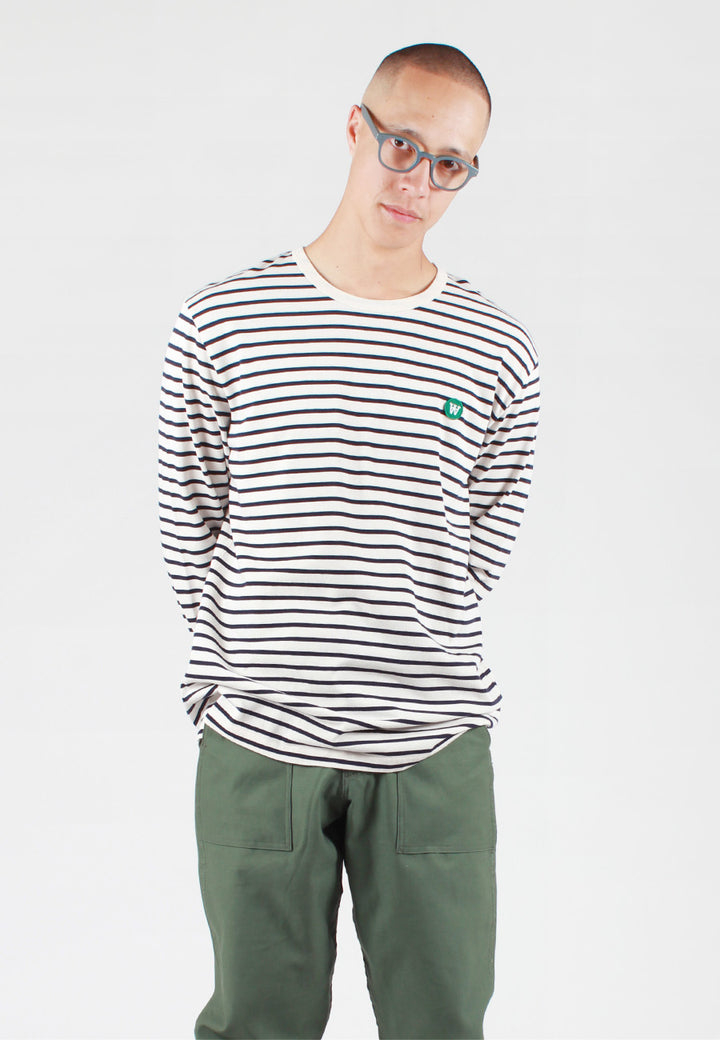 Wood Wood Mel Long Sleeve T-Shirt - off white/navy stripe — Good as Gold