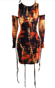 Fiery Tie-Dye Dress