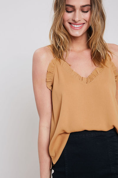 Ruffled Up Cami- Camel