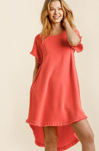 Feel The Heat Linen Dress - Coral (BACK IN STOCK)