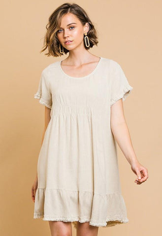 Well Balanced Linen Dress - Oatmeal