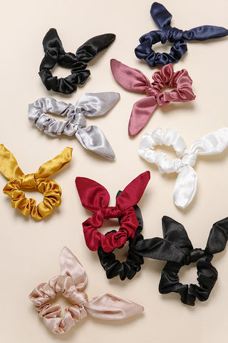Satin Bow Scrunchie Hair Tie