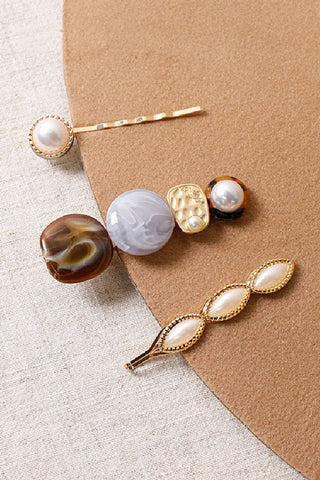 Resin + Pearl Hairpin Set