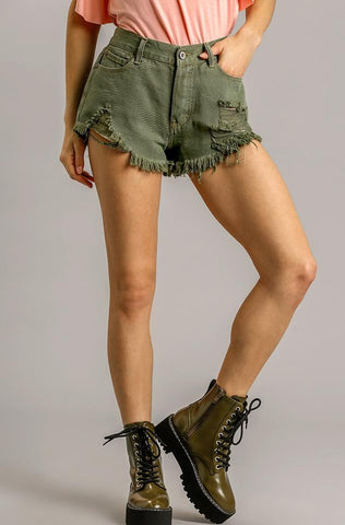 Today's The Day Denim Shorts - Olive