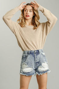 Without A Care Denim Shorts - Dark Wash