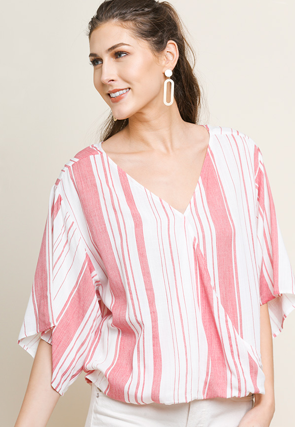 Riley Striped Surplice Top - Red