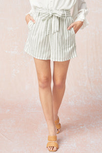 Socialite Striped Shorts - Forest
