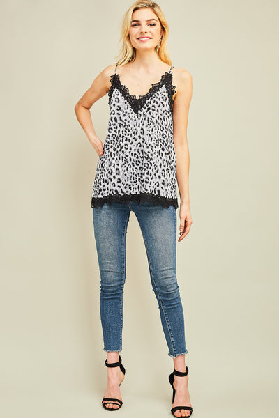 Lace + Leopard Tank - Grey