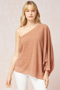 One For Me Shoulder Top - Salmon Print