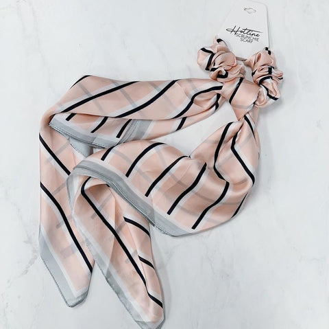 Blush & Navy Stripe Handkerchief Scrunchie
