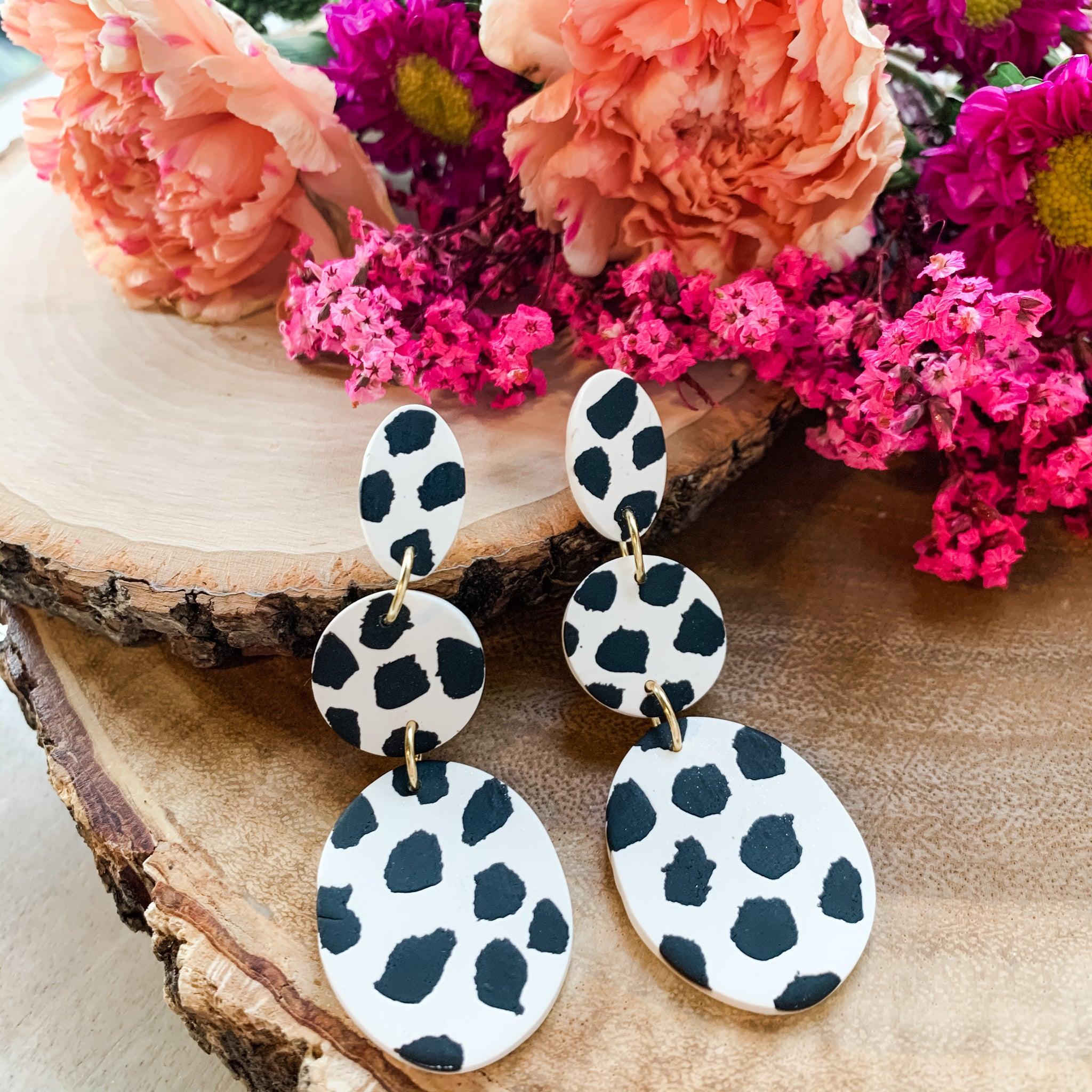 Dalmation - Polymer Clay Earrings