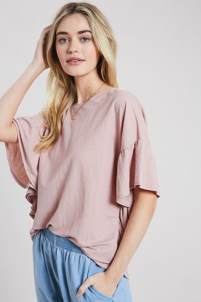 Ruffle Your Feathers Tee - Mauve