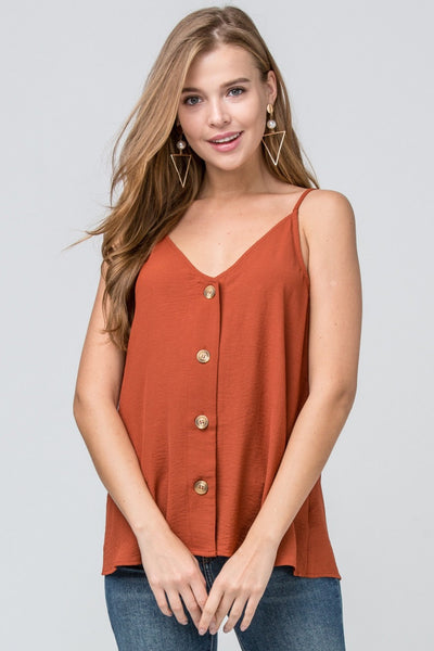 Let's Wine 'Button' Down Tank - Rust