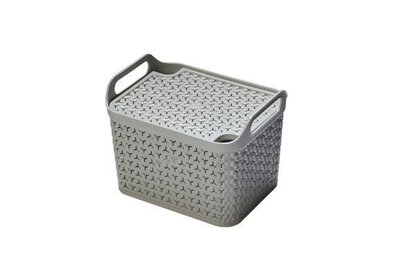 Medium Handy Basket With Lid Grey