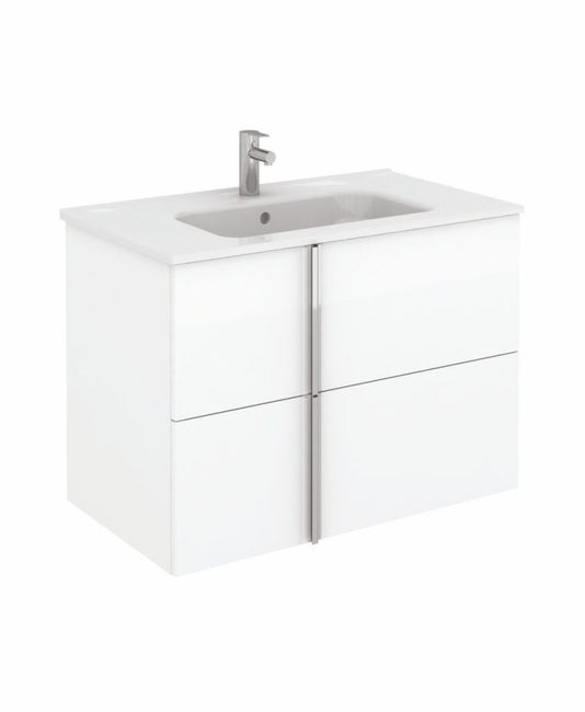 Sonas Avila White Wall Hung 80cm Vanity Unit and Slim Basin