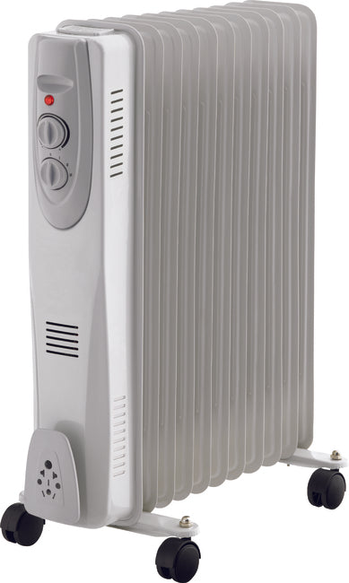 9 Fin White Oil Filled Radiator 2000w WITH TIMER