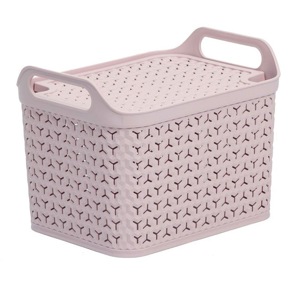 Large Handy Basket With Lid Blush Pink