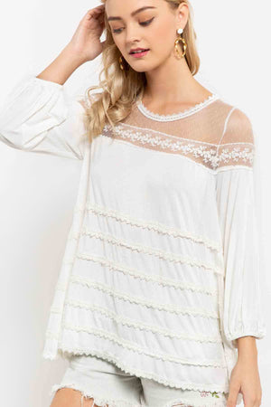 Ivory Lace detailed long sleeve top