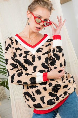 HOT Cougar Sweater with Red Trim