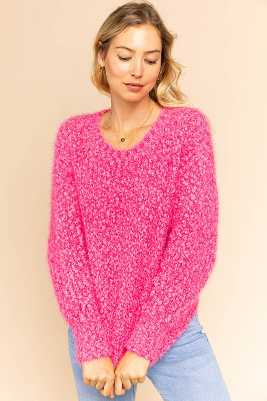 Bright Pink Fuzzy Sweater