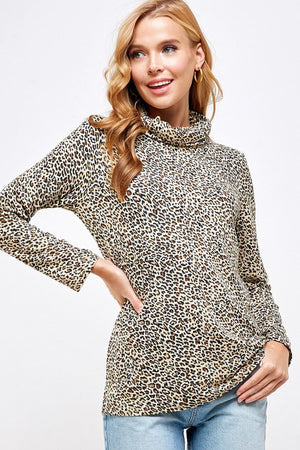 Leopard Masked Turtleneck Top