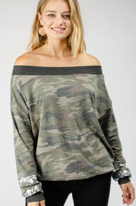 Fall Camo Boat Neckline with Sequins