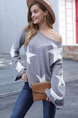 Fall Star Sweater-Grey