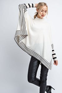 Fall White with Black Stripes Poncho Sweater