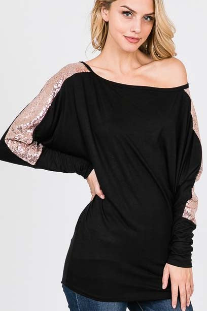Black and Rose Gold Sequin Shirt