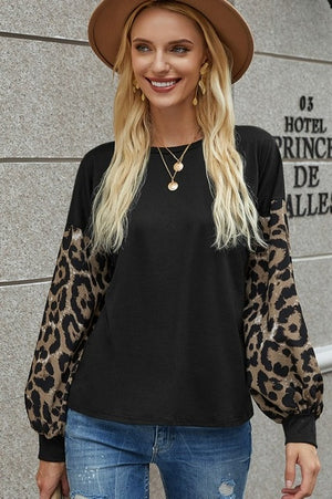 Fall Leopard Sleeve Tunic-Black