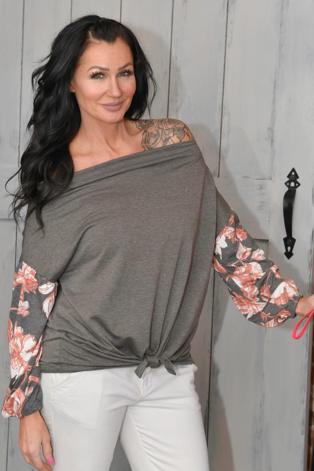 Grey Floral Off-Shoulder Top