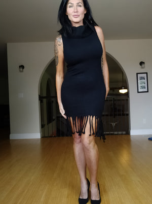 Cowl Neck Fringed Dress