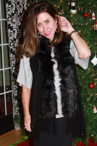 Fur Collar Vest with Fringe Detail