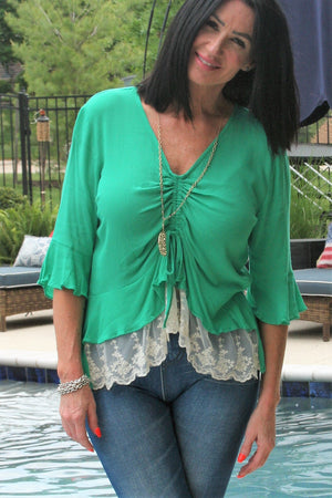 Ruched Blouse with Lace Trim