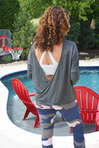 Open Back Dark Grey Knit Top