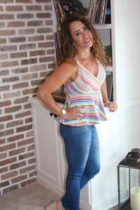 All Striped Up Peplum Tank