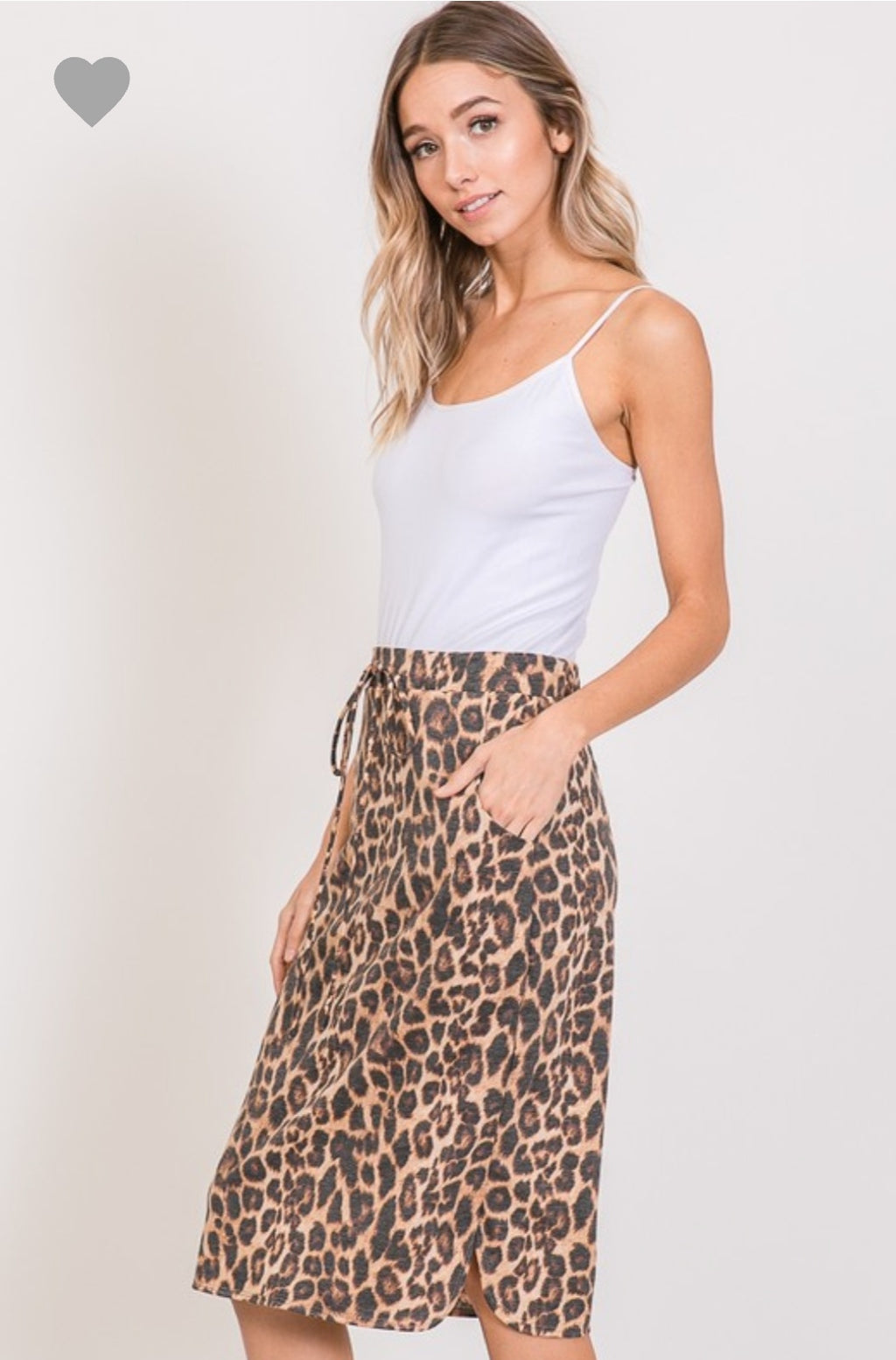 Leopard Midi Skirt with Tie